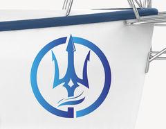 Bootsaufkleber Dreizack Emblem