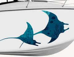 Bootsaufkleber Blaue Mantarochen