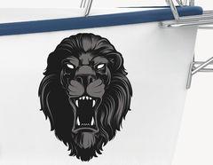 Bootsaufkleber Black Lion Head