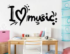 Wandtattoo I love Music mit Herz