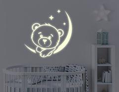 """Leuchtsticker """"Bärchen Bommel"""" und Mond wachen in der Nacht"""