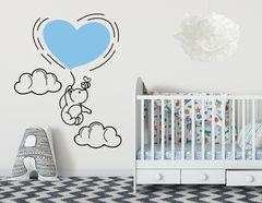 Wandtattoo Bär Fredi: Mit Herz-Luftballon, Biene & 2 Wolken.