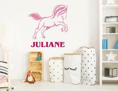 """Wandtattoo """"Pony Galopp"""" mit Wunschnamen und süßem Pferdchen"""