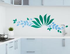 Wandtattoo Wasserlilie Akemi: Ornament mit Blüten und Ranke