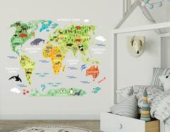 Wandtattoo Tierische Weltkarte
