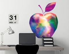Wandtattoo Apfel mit Regenbogen-Galaxie