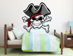 Wandtattoo Piratenkopf Captain Jack Red
