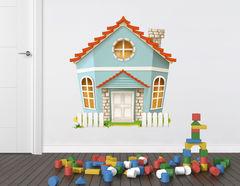 Wandtattoo Das blaue Haus mit Zaun