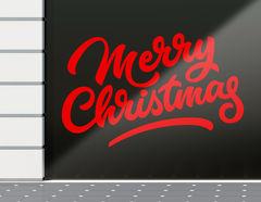 Aufkleber Merry Christmas Calligraphy