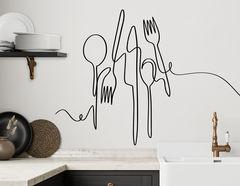 Wandtattoo One Line Art – Besteck mit Pep