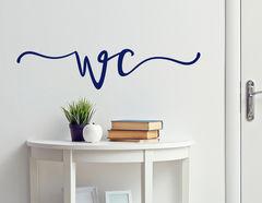 Wandtattoo WC Zeichen Kalligrafie