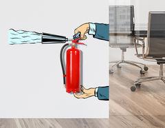 Wandtattoo Cartoon Feuerlöscher