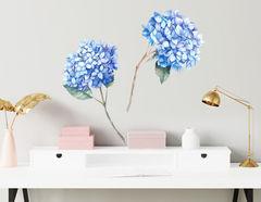 Wandtattoo Blaue Hortensien Aquarell