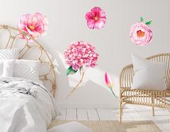 Wandtattoo Pink Watercolor Flowers