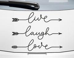 Autoaufkleber Live Laugh Love Arrows