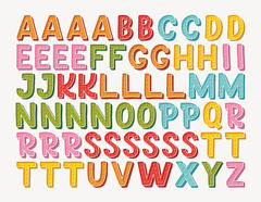Wandtattoo Buchstaben-Aufkleber Doodle