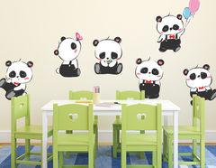Wandtattoo Cartoon Panda Bunch