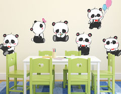 Wandtattoo Cartoon Panda Bunch