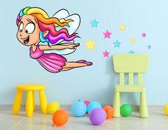 Wandtattoo Cartoon Rainbow Fairy