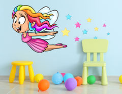 Wandtattoo Cartoon Rainbow Fairy