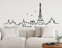 Wandtattoo Line-Art Skyline Paris