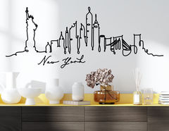 Wandtattoo Line-Art Skyline New York