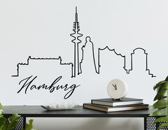 Wandtattoo Line-Art Skyline Hamburg