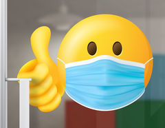 Aufkleber Smiley mit Maske