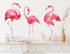 Wandtattoo Watercolor Flamingos