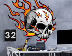 Wandtattoo Burning Skull