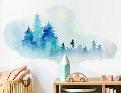 Wandtattoo Blue Pine-Tree Forest