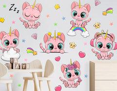 Wandtattoo Einhorn-Kätzchen Pinky Paw