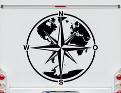 Autoaufkleber Welt im Kompass