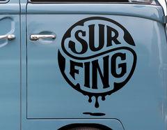Autoaufkleber Surfing Emblem