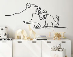 Wandtattoo One Line Art - Lion & Baby