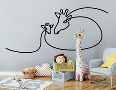 One Line Art - Giraffe & Baby