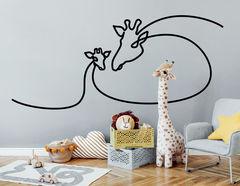 One Line Art - Giraffe & Baby