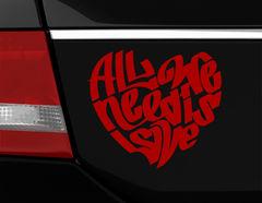 """Autoaufkleber """"All we need is love"""": Die Anleitung zum Glück"""