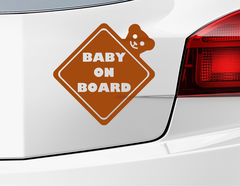 "Autoaufkleber ""Baby on Board Ted"" in Rautenform mit Teddy"