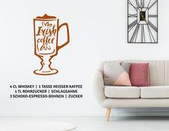 """Wandtattoo """"Irish Coffee"""" mit Kaffee, Whiskey und Sahne!"""