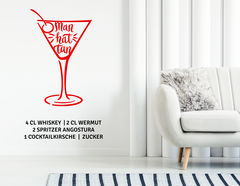 "Wandtattoo ""Cocktail Manhattan"" der Shortdrink-Klassiker"