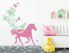 Floral Horse Ride - Wandtattoo für Kinder