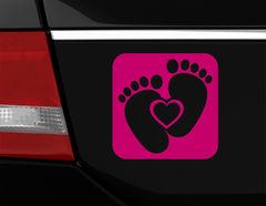 "Autoaufkleber ""Heart & Feet"" zeigt Baby-Füßchen & Herz"