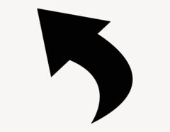 Pfeil Finn-Curve links - Aufkleber für Gewerbe