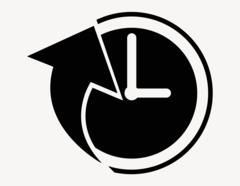 Pfeil und Uhr - Aufkleber für Gewerbe