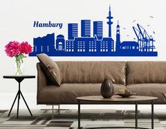 Wandtattoo Hamburger Skyline zeigt die Hafenstadt