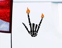 "Autoaufkleber ""Burning Bones"" coole Skeletthand mit Flammen"