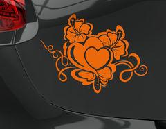 Autoaufkleber Hibiskus mit Herz: Hawaii-Spirit trifft Liebe