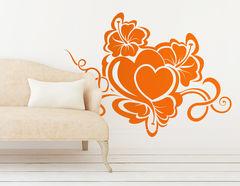 """Wandtattoo """"Hibiskus mit Herz"""" steht für Zuneigung"""