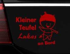"""Autoaufkleber """"Teufelsbraten"""" mit Wunschnamen für Dämonen"""